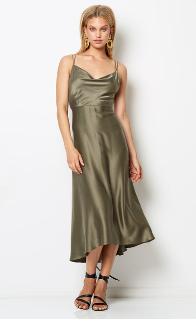 VIDA COWL MIDI DRESS - KHAKI