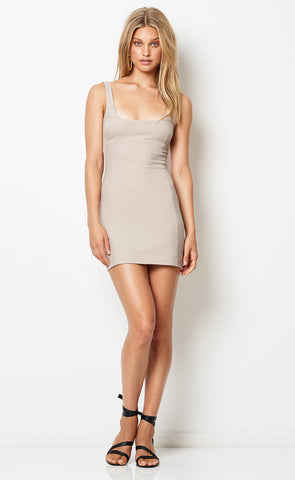 DIONNE MINI DRESS - TAN CHECK