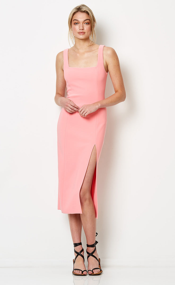 HIBISCUS ISLANDS MIDI DRESS - FLAMINGO PINK