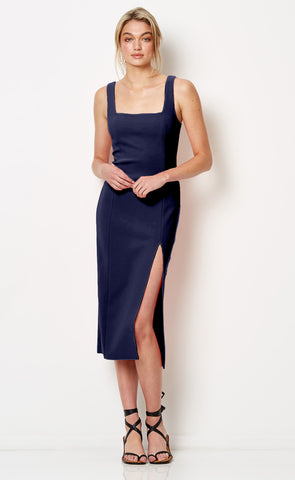 HIBISCUS ISLANDS MIDI DRESS - MIDNIGHT