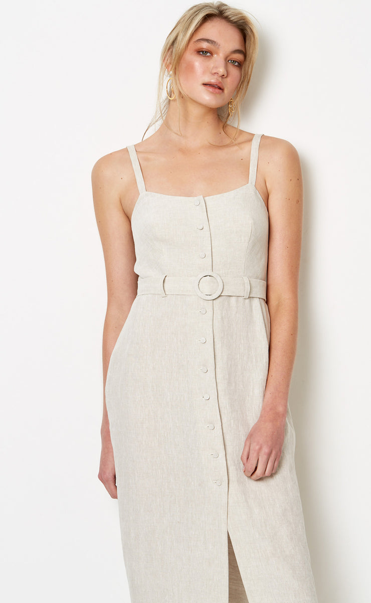 SILVER PALMS MIDI DRESS - NATURAL