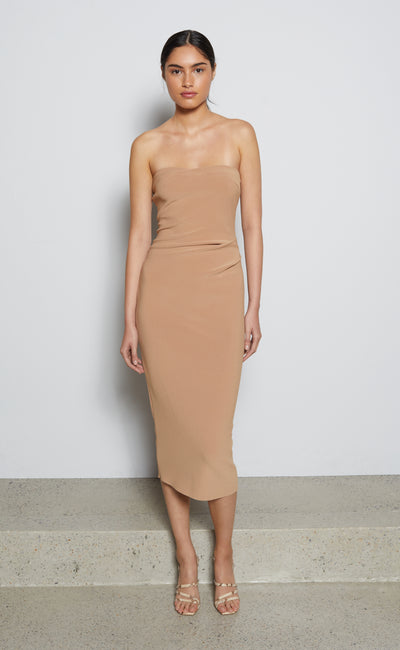 ELKE STRAPLESS MIDI DRESS - CARAMEL