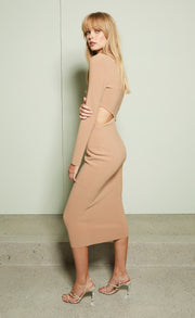 ELKE ASYM MIDI DRESS - CARAMEL