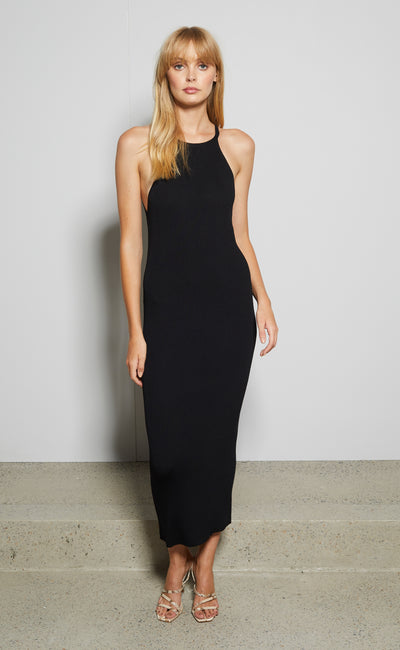 LENA MIDI DRESS - BLACK