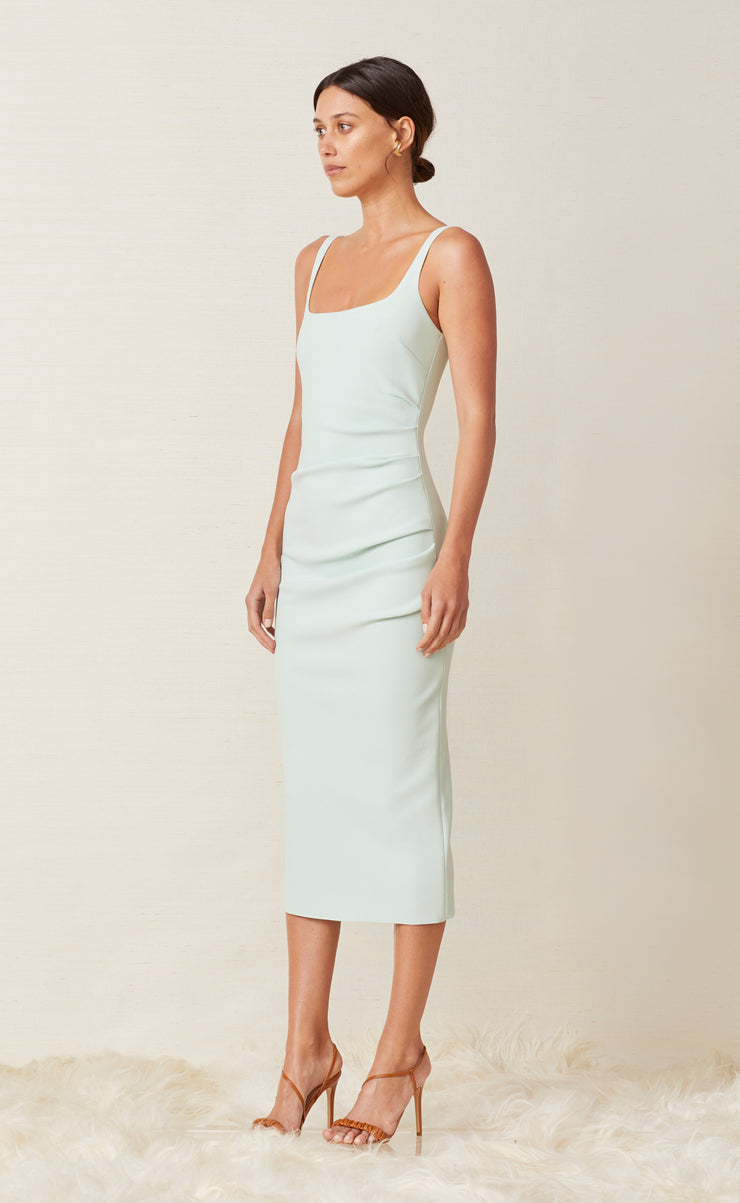 KARINA TUCK MIDI DRESS - MINT