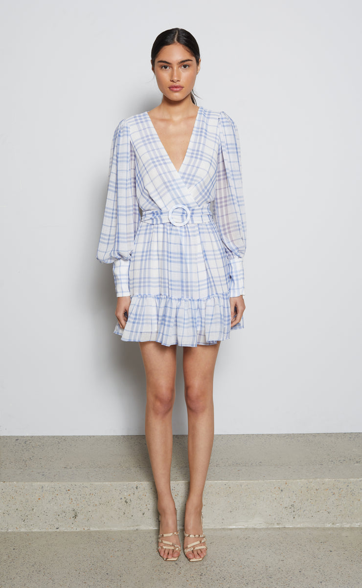 ALEXA LONG SLEEVE MINI DRESS - BLUE CHECK