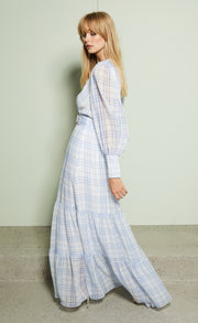 ALEXA L/S MIDI DRESS - BLUE CHECK