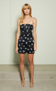 DAISY CUT OUT MINI DRESS - CORNFLOWER POPPY