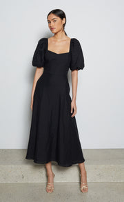 EVELYN MIDI DRESS - BLACK