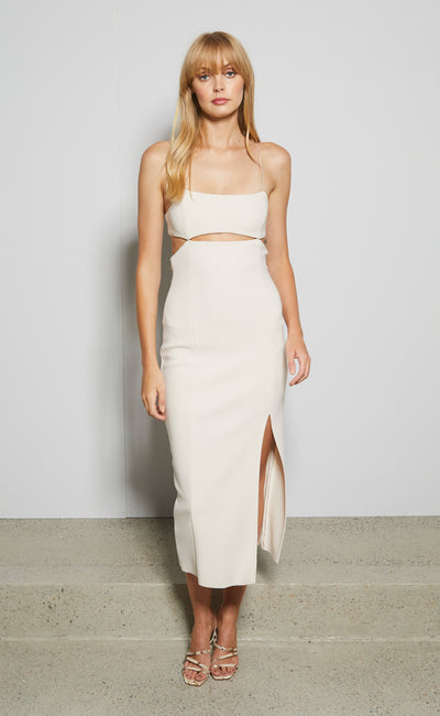 ULLA MOUTH MIDI DRESS - VANILLA BEAN