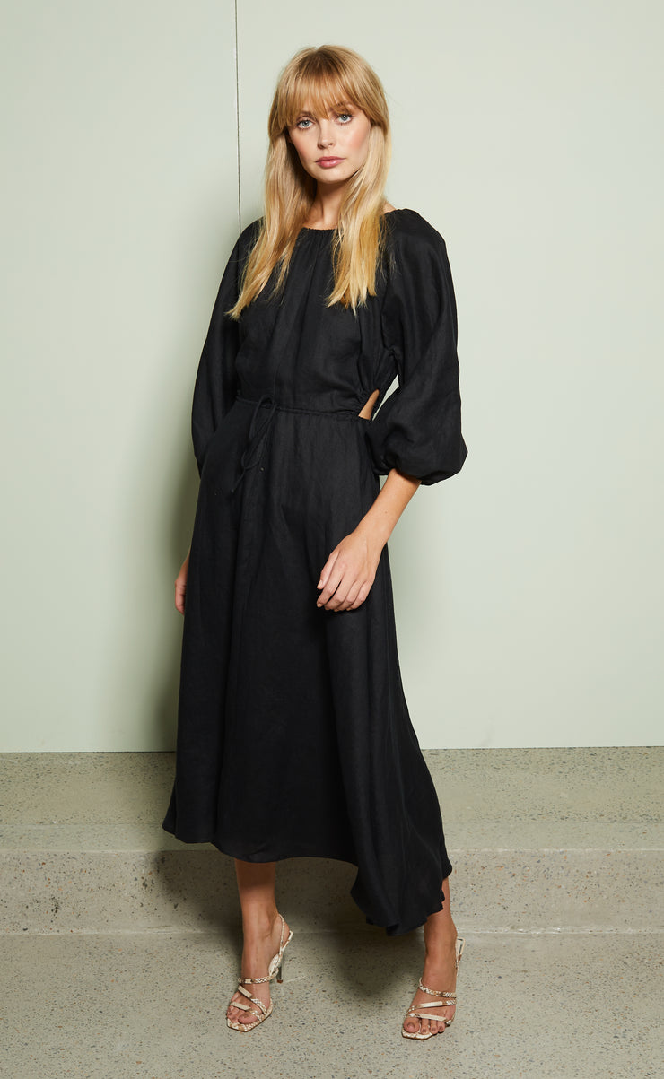LOTTIE MIDI DRESS - BLACK