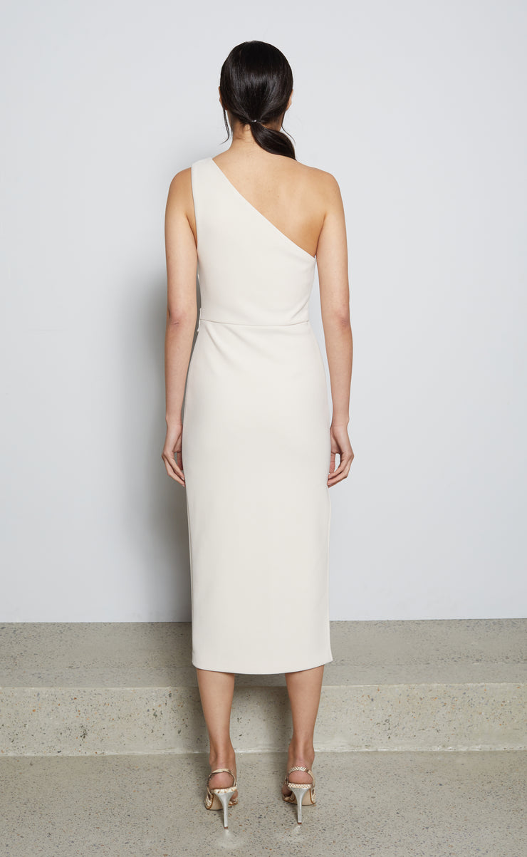 ULLA ASYM MIDI DRESS - VANILLA BEAN