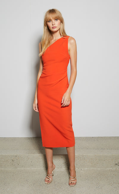 ULLA ASYM MIDI DRESS - BLOOD ORANGE
