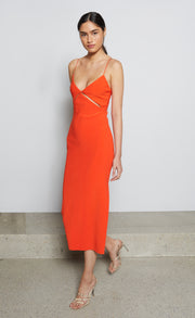 ULLA CUT OUT MIDI DRESS - BLOOD ORANGE