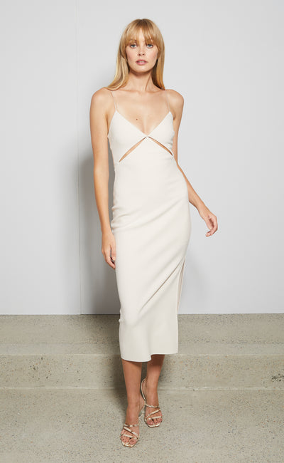 ULLA CUT OUT MIDI DRESS - VANILLA BEAN