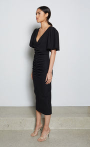 SADIE MIDI DRESS - BLACK
