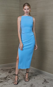 ARLETTE TUCK MIDI DRESS - MARINE