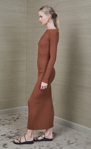 ADELE MIDI DRESS - CHOCOLATE