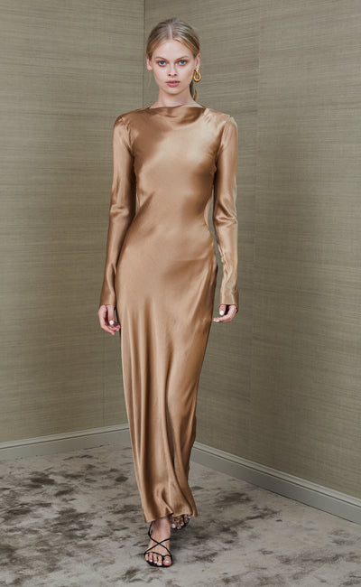 AUBREY LONG SLEEVE MIDI DRESS - GOLD