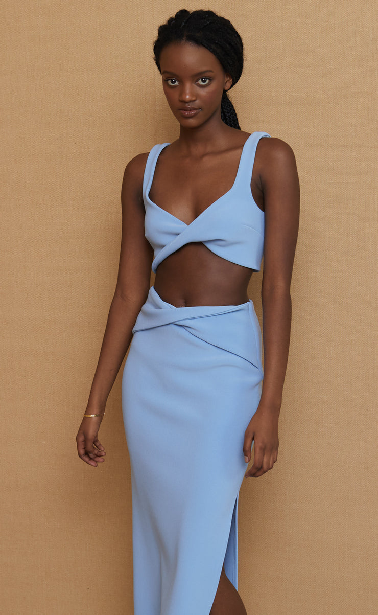 CLOVER CROP TOP  - SKY BLUE