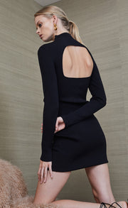 CHICHI LONG SLEEVE KNIT MINI DRESS - BLACK