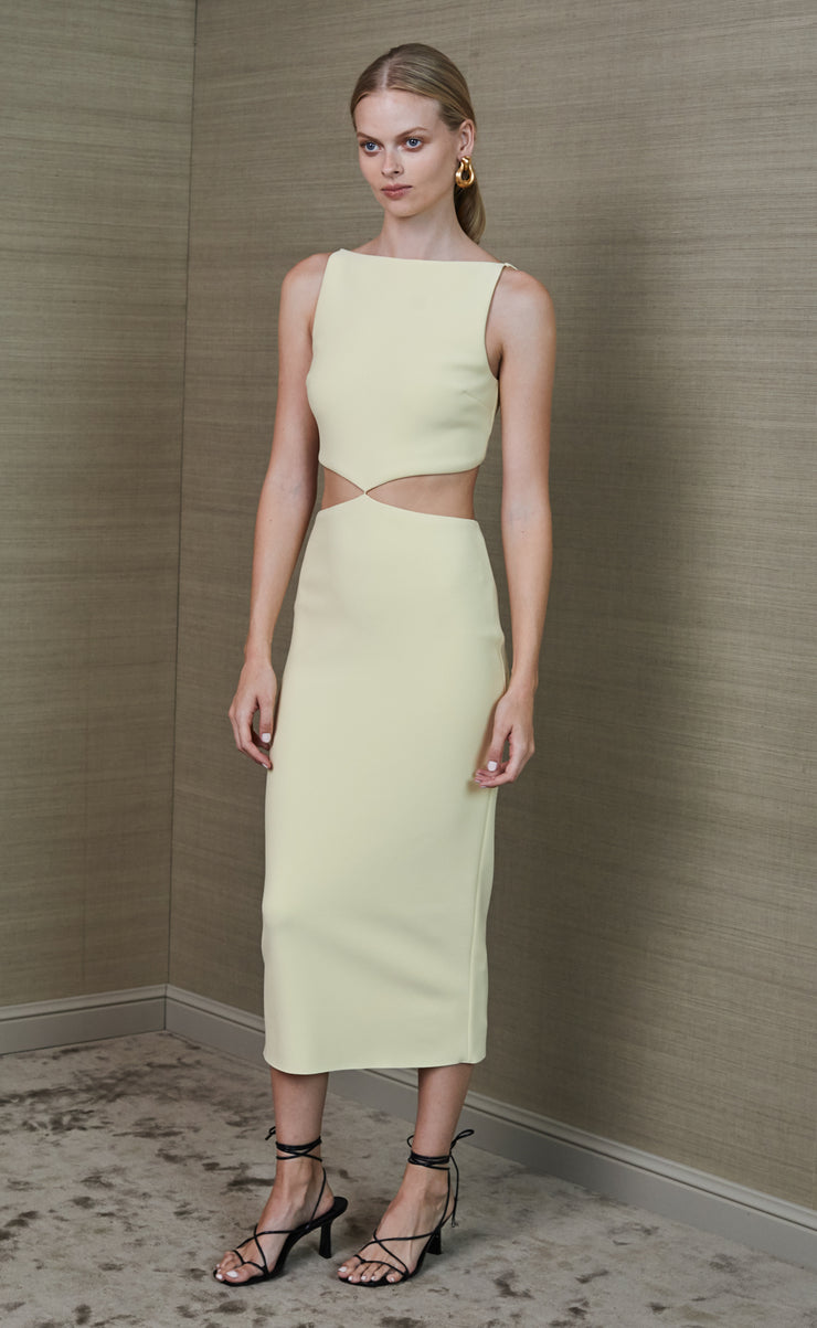 SCOUT CUT OUT MIDI DRESS - LEMONADE
