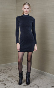 ELECTRIC AVENUE LONG SLEEVE MINI DRESS - MIDNIGHT