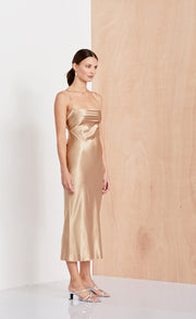 AMAZONITE TIE DRESS  - GOLD