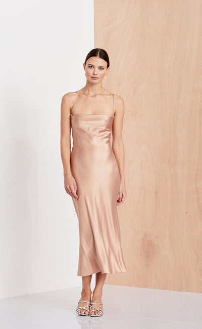 AMAZONITE TIE DRESS  - BLUSH