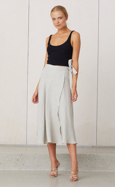 NATURAL WRAP SKIRT - SILT