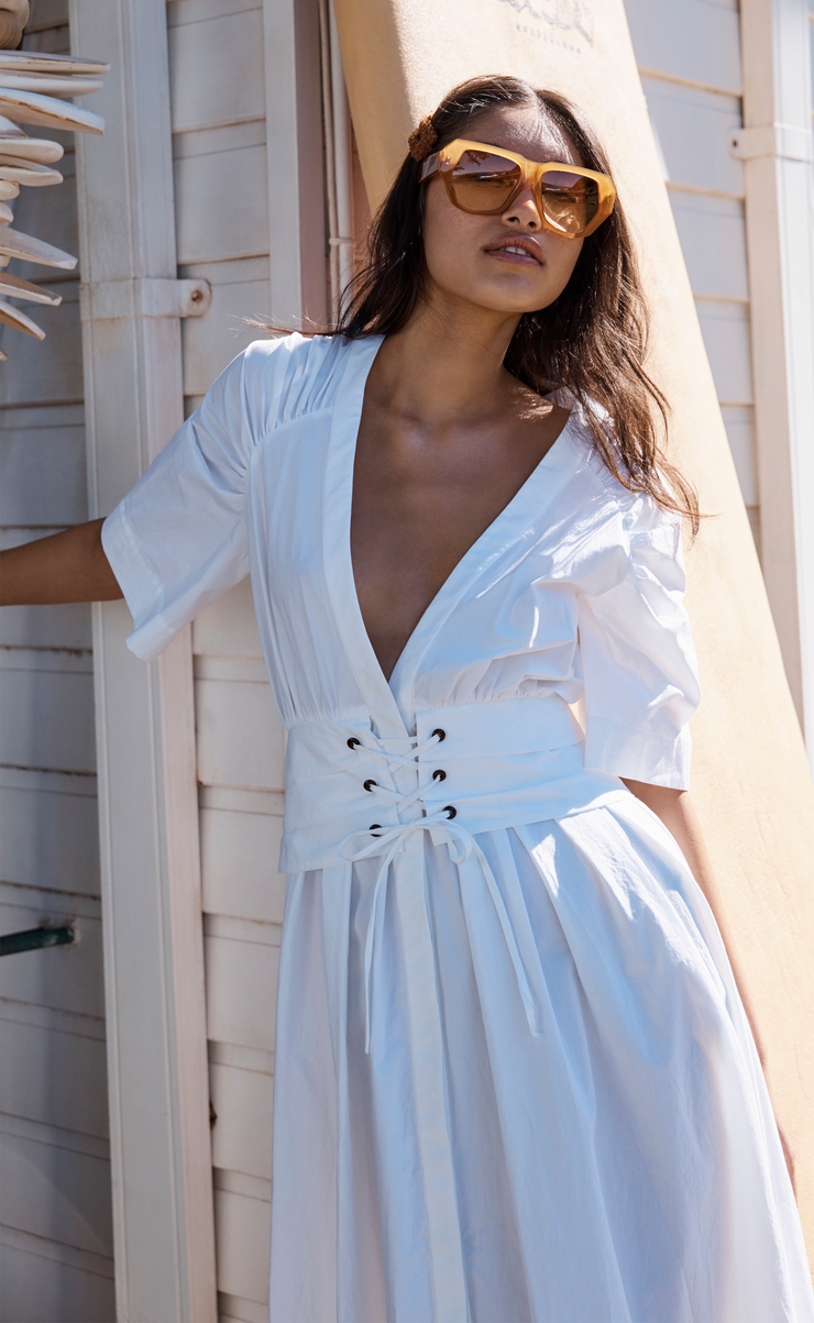 SURFARI MIDI DRESS - WHITE