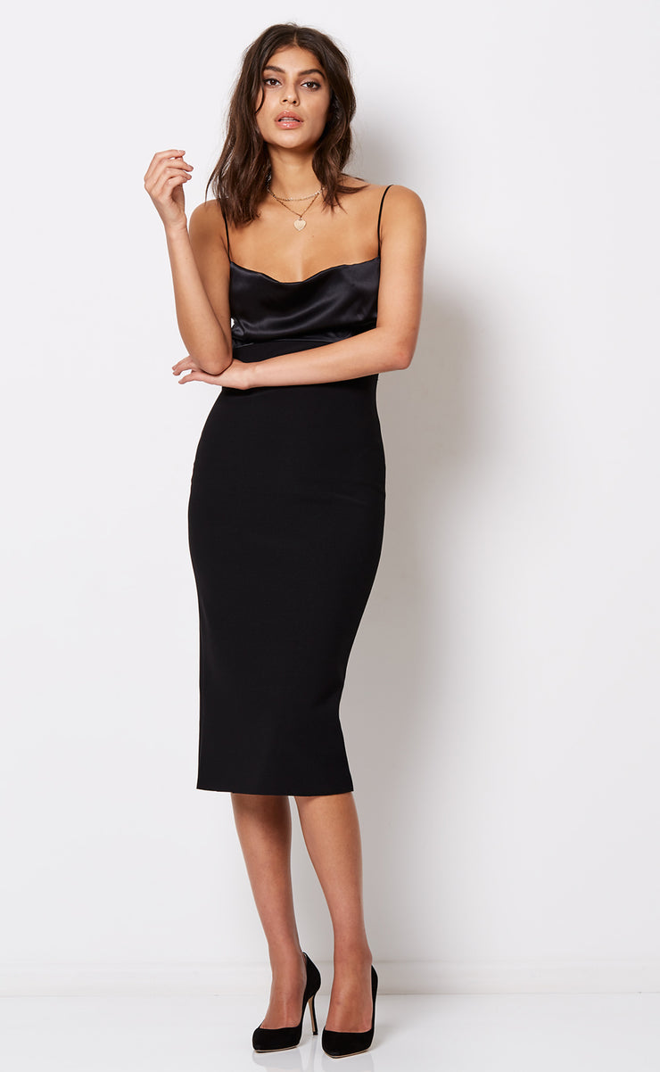 BROOKE TIE DRESS - BLACK
