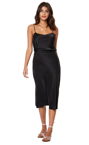 GIRL TALK MIDI SKIRT - BLACK