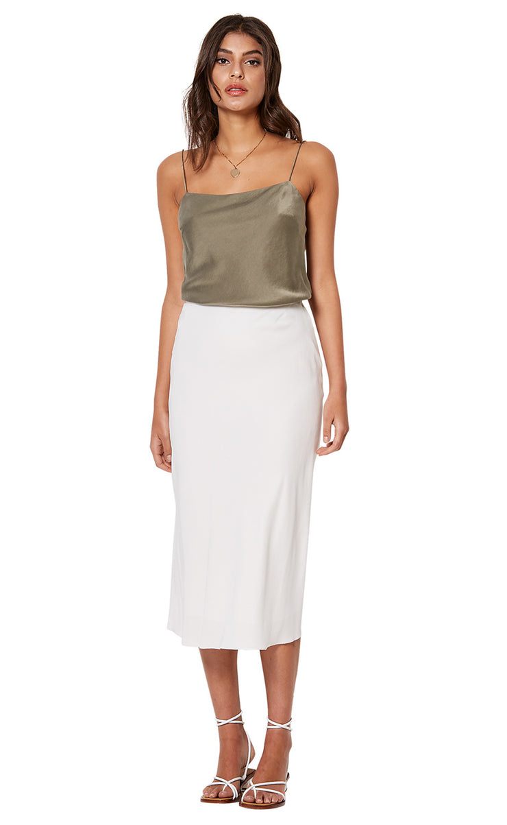 GIRL TALK MIDI SKIRT - IVORY