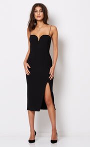 DREAMGIRL MIDI DRESS  - BLACK
