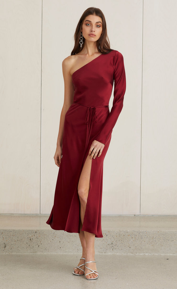 CLASSIC ONE SHOULDER DRESS - BURGUNDY