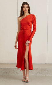 CLASSIC ONE SHOULDER DRESS - FIRE