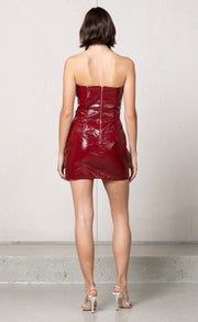 DISCO INFERNO MINI DRESS - BURGUNDY