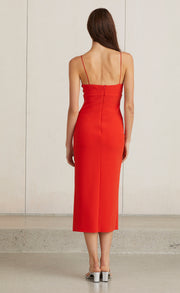 LEA SPLIT MIDI DRESS - FIRE