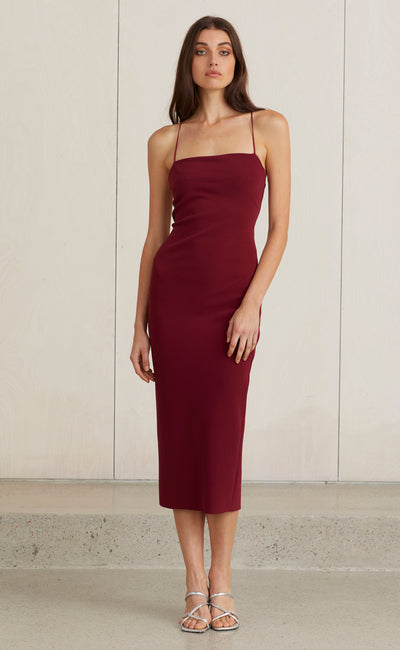 LEA LACE UP MIDI DRESS - BURGUNDY