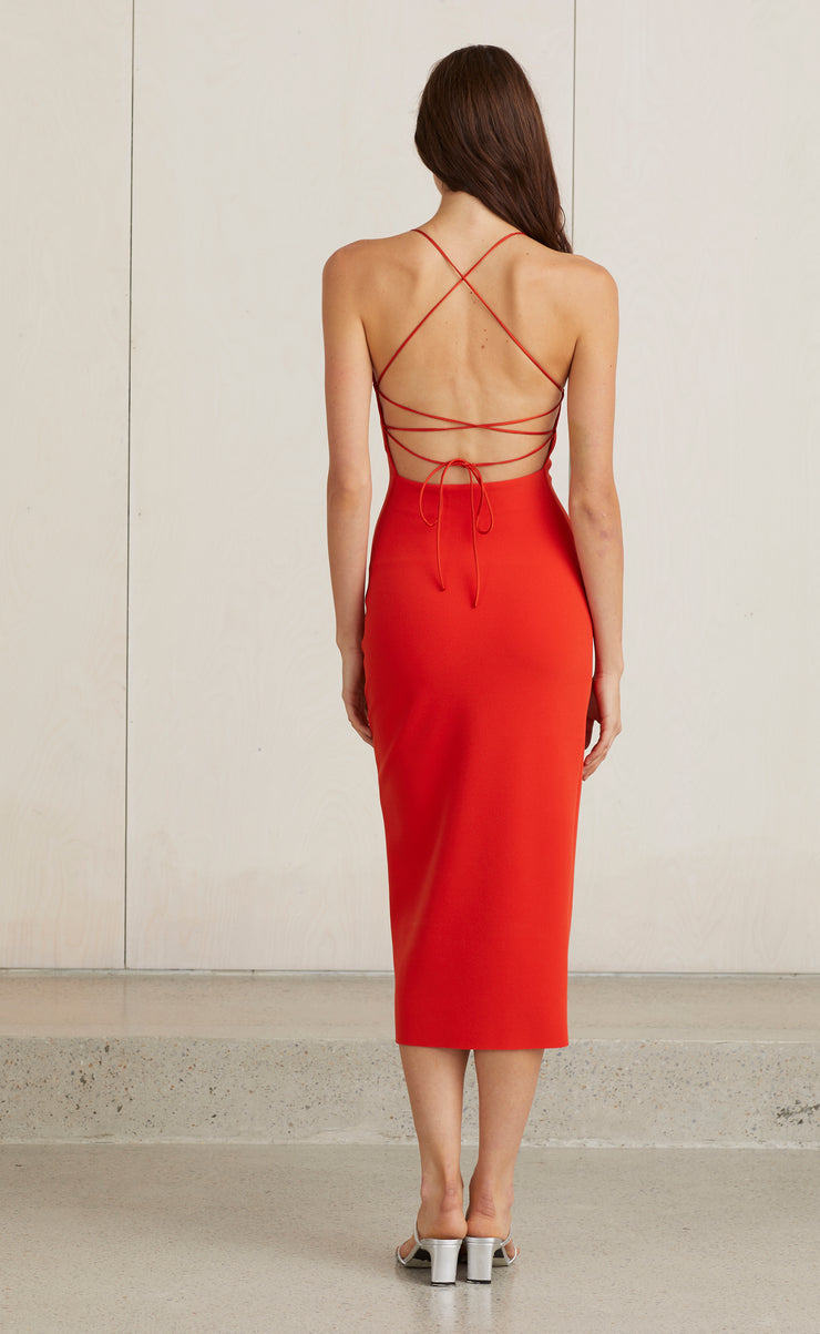 LEA LACE UP MIDI DRESS - FIRE