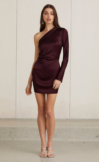 CAROLINE MINI DRESS - PLUM