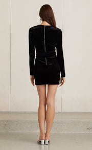 VELOURS MINI DRESS - BLACK