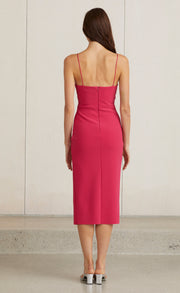 VALENTINE V MIDI DRESS - HOT PINK