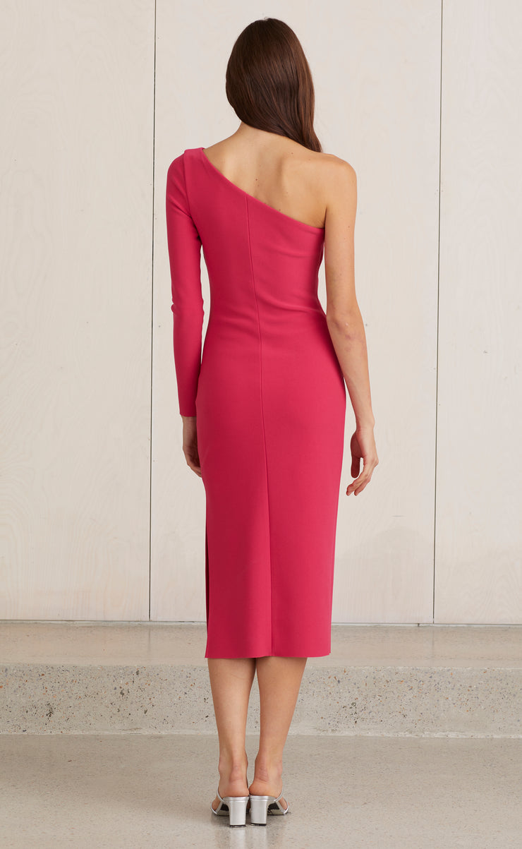 VALENTINE ASYM MIDI DRESS - HOT PINK