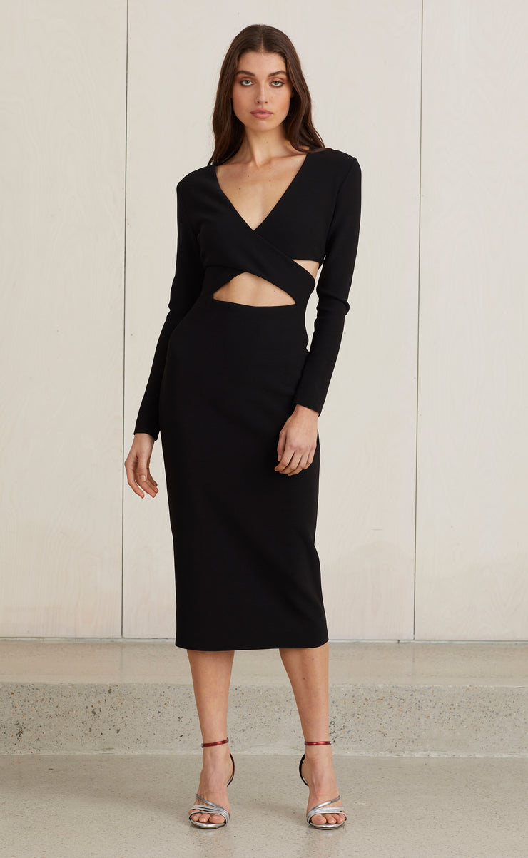 MADAME NOIR MIDI DRESS - BLACK