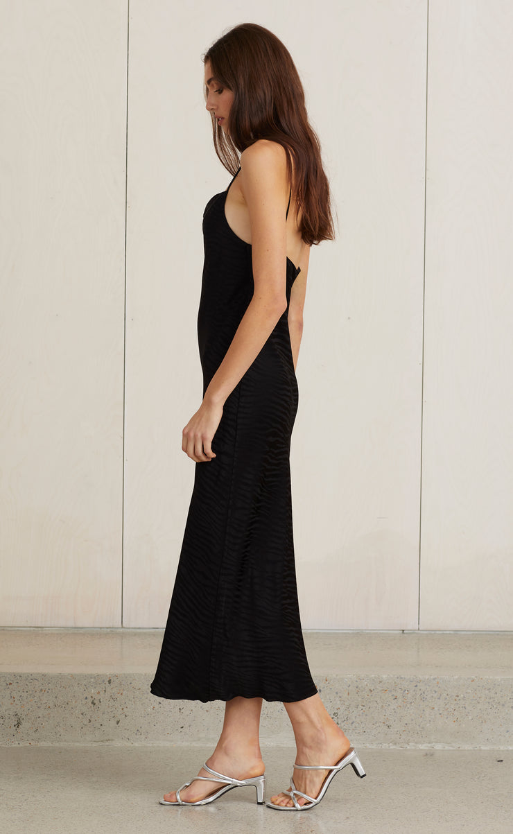 THE KAT COWL MIDI DRESS - BLACK