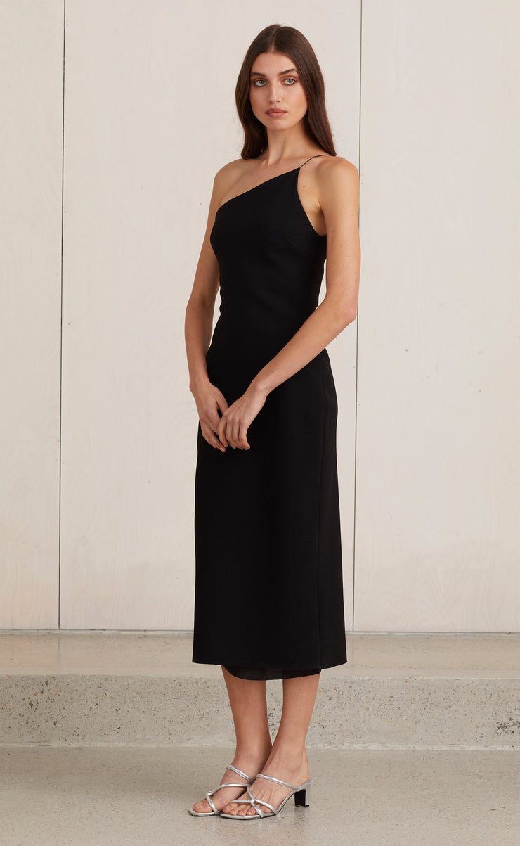 ARAIA ASYM MIDI DRESS - BLACK