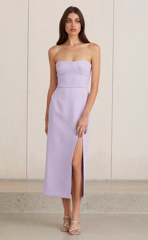 ARAIA STRAPLESS MIDI DRESS - LILAC