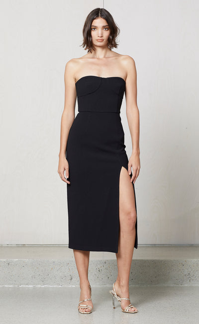 ARAIA STRAPLESS MIDI DRESS - BLACK